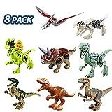 ISKM Dinosaurier Baustein Spielzeug Puzzle Figuren Klein Dino Kinder Dinosaurier Kindergeburtstag Party Dekoration (8 PCS)