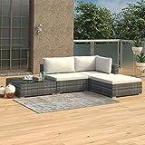 Festnight 8-TLG. Garten-Lounge-Set mit Auflagen Poly Rattan Schwarz Lounge Gartenset Gartensofa Gartengarnitur