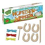A Alexander 2437 Sport & Fun werfen, Wurfspiel Set mit 4 Holz Hufeisen, Hammer und Stab, Ringwurfspiel für 2 bis 4, Outdoor Spiel für Draußen, für Erwachsene und Kinder ab 3 Jahren