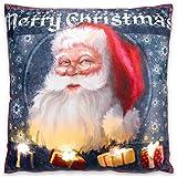 Nexos Trading LED Kissen Sofakissen mit Beleuchtung Fotodruck Santa Claus 40x40 cm Zierkissen Dekokissen mit Licht Leuchtkissen X-Mas Weihnachtsmann Christmas