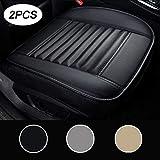 LUOLLOVE Autositzbezüge PU Leder Bambus-Kohle-atmungsaktiv kompatibel für 90% Modelle Vordersitz,2Stücke (Schwarz 20.5 x 20.1 In)
