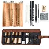 Skizze Bleistift Set, KidsPark Skizzierstifte 29 Stück Künstler Art Kit für Skizzen Zeichnen Grafitti mit Kohlestifte Papierstifte Bleistifthalter Spitzer Radier im Canvas Beutel für Kinder Erwachsene