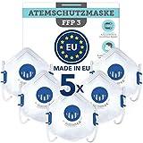 BEMS MEISTERWERK FFP3 MaskeWiederverwendbar(5 STK.)Made in EUCE zertifiziert (EN149:2001+A1:2009) – Premium Atemschutzmaske mit Ventil –