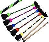 FLASH Pro Flowerstick Set (5 Farben) Silikon beschichtet Flower & Handstäbe! Suprime Qualität, Fiberglasstock, Silicone Grip, Wildlederfransen, strap. Flames N Games Devilsticks für Anfänger und Profis. (Grun)