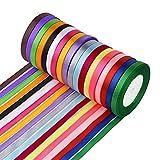 Syhonic Geschenkband (0,6 cm breit) Satinband 450 Yard 18 Farben Seidenbänder Geschenkband Schleifenband Hochzeit Dekoband Geschenk Verpackung