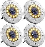 Solar Bodenleuchten, 4 Stück 8 LEDS Solarleuchten Solarlampen Gartenleuchten für Außen, Solarlicht Garten Licht, IP65 Wasserdicht Bodenstrahler Licht für Rasen, Patio, Hof, [Energieklasse A+] - Weiß