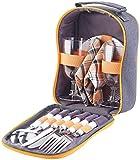 PEARL Picknicktasche: Picknick-Set für 2 Personen: Gläser, Servietten, Teller, Besteck (Picknick Geschirr Set)