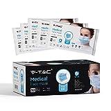 Medizinische V-TAC IIR-Gesichtsmasken mit Einweg-Vlies, 3-lagig, intern 50 Stück pro Karton (einzeln verpackt)