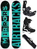 Airtracks Snowboard Set - Board Mirrors NEON Wide 163 - Softbindung Master - Softboots Strong 43 - SB Bag