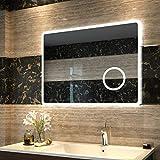 Duschdeluxe LED Spiegel Badspiegel Beleuchtung 80 x 60 cm Badezimmerspiegel Lichtspiegel Wandspiegel nergieeffizienzklasse A ++ mit Touch Schalter + 3-facher Vergrößerungsspiegel