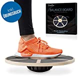 SportyAnis Premium Balance-Board Holz inkl. Übungsbuch und optional Unterlegmatte, Durchmesser 40 cm - Therapiekreisel für Physiotherapie zur Stärkung der Tiefenmuskulatur