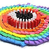 BUYGOO 240Pcs Dominosteine Kinder Domino Rallye Bausätze aus Kiefernholz - 12 Farben Bunte Domino-Holzblöcke Lernspielzeug zum Basteln, Pädagogische Spielzeug für Kinder