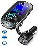 Bovon Bluetooth FM Transmitter mit 1.8 Zoll LCD Display, Bluetooth Adapter Auto Radio Transmitter, Unterstützt Bluetooth 5.0, QC3.0 & 5V/2.4A, Freisprecheinrichtung, Aux Eingang/Ausgang & TF Karte