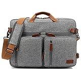 CoolBELL umwandelbar Rucksack Messenger Bag Umhängetasche Laptop Tasche Handtasche Business Aktentasche Multifunktions Reise Rucksack Passend für 17,3 Zoll Laptop/Männer/Frauen(Grau)