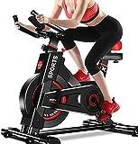 Dripex Heimtrainer, Fitnessbikes Ergometer mit Schutzhülle, Pulsmesser, stufenlose Widerstandseinstellung und großes Trägheitsschwungrad, Benutzergewicht bis 150kg (Rot1)
