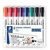 Staedtler Lumocolor 351 B WP8X Whiteboard-Marker (Keilspitze ca. 2 oder 5 mm Linienbreite, Set mit 8 Markern, hohe Qualität, trocken und rückstandsfrei abwischbar von Whiteboards)