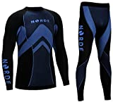 Norde THERMOTECH Herren Funktionswäsche Thermoaktiv Atmungsaktiv Base Layer Set Outdoor Radsport Running (Schwarz/Blau, L)
