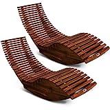 Deuba 2X Schwungliege FSC-zertifiziertes Akazienholz Ergonomisch Wippfunktion Gartenliege Sonnenliege Relaxliege Saunaliege