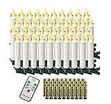 Aufun 40 Stück LED Weihnachtskerze Warmweiß Weinachten, Mini Kabellose Christbaumkerzen Flammenlose mit Fernbedienung und Batterien IP44 für Weihnachtsbaum, Hochzeit, Partys