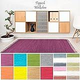 Handweb Flicken-Teppich aus Baumwolle | Geflochtene Indische Fleckerl Kelim Teppiche fürs Wohnzimmer, Küche, Schlafzimmer, Bad oder Flur Läufer| Einfarbig Bunt (Violett, 40 x 60 cm)