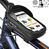 HIKENTURE Rahmentasche Fahrrad Wasserdicht mit Fingerabdrucksensor, Fahrradtasche Rahmen mit Handyhalterung, Oberrohrtasche als Handyhalter, Ideales MTB Fahrrad Zubehör für Handys bis zu 6,5 Zoll