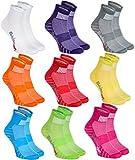 Rainbow Socks - Damen Herren Bunte Baumwolle Sport Socken - 9 Paar - Lila Grün Grau Pink Orange Rot Weiß Blau Gelb - Größen 39-41