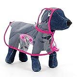 Tuzi Qiuge Hund Regenmantel, Kleiner und mittlerer Hund Haustier Leichter Wasserdichter Teddy-transparenter Plastik-Poncho-Oyoo (Color : Magenta)
