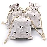 Sackleinen Taschen, 20 Stück Leinensäckchen, 9x12cm Leinen Beutel mit Kordelzug für Lavendelblüten , Schmuck Geschenke (Braun Blume)