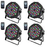U`King DMX Parlicht Scheinwerfer mit Fernbedienung RGBW 36 LED Lichteffekt für KTV Disco Musik Party Show Bar(4 Stücke)