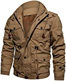 TACVASEN Casual Jacke Herren Warm Fleece Jacke Full Zip Hoodie Freizeitjacke Winter Travel Jacket Mens Ski Schnee Jacke Warme Baumwoll Atmungsaktive Jacke Jagd Angeln Jacke Khaki Beige