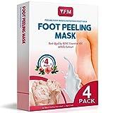Y.F.M Fußmaske, 4 Paar Rose Fuß Peeling Maske Peeling Socken Schwielen und abgestorbene Haut Entferner Baby Füße, Roseextrakt Hornhautsocke (2X Peeling Fußmaske, 2X Nahrhafte Fußmaske)
