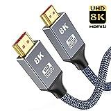 8K HDMI Kabel 3Meter,Snowkids Ultra Highspeed HDMI 2.1 Kabel 48 Gbps für ruckelfreies 8K@60Hz,4K@120Hz,Dynamisches HDR,3D-kompatibel mit UHD-TV, für Monitor, Projektor