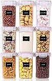Vtopmart 1.6L Vorratsdosen Set, Müsli Schüttdose & Frischhaltedosen, BPA frei Kunststoff Vorratsdosen luftdicht,Trockenfutterbehälter, Satz mit 9, 24 Etiketten für Getreide, Mehl, Zucker usw (Rosa)