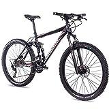 CHRISSON 27,5 Zoll Mountainbike Fully - Hitter FSF schwarz rot - Vollfederung Mountain Bike mit 30 Gang Shimano Deore Kettenschaltung - MTB Fahrrad für Herren und Damen mit Rock Shox Federgabel
