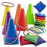 Prextex 3-in-1 Faschings-Kombi-Set | Cornhole Sackloch Ringwurfspiel und Plastikkegel in 26-teiligem Set