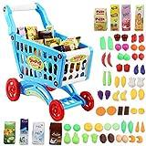 deAO Kinder Einkaufswagen Spielset Gefüllt mit 50 Kuststofflebensmitteln Spielzeug für Jungen und Mädchen