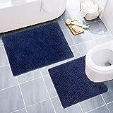 DONPEREGRINO rutschfeste Badezimmerteppich Set 2 Teilige (50x80cm, 60x50cm), Flauschig und Weich Chenille Hochflor Teppich Waschbare Badematte Set für Bad/Badezimmer/Toilette (Blau)