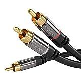 KabelDirekt - Cinch Audio Y-Kabel - 3m - (Koaxialkabel geeignet für Verstärker, Stereoanlangen, HiFi Anlagen & andere Geräte mit Cinch Anschluss, 1 Cinch zu 2 Cinch)