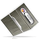 Yosemy Zigarettenetui mit Feuerzeug Aluminium Zigarettenbox Elektronisches Integriertem Flammenlose Feuerzeug Aufladbar Zigarettenschachtel Schwarz