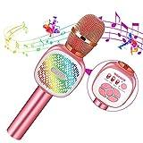 SGODDE Drahtloses Bluetooth Mikrofon für Kinder,Tanzen LED Lichter,Tragbares Microphon mit KTV Lautsprecher Recorder für Erwachsene und Kinder,für Geschenk/Sprach/KTV/Party,für Android/IOS,PC
