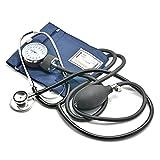Belmalia Blutdruckmessgerät mit Stethoskop, Pumpball, Manometer, Manschette, Tasche für Rettungsdienst, Arzt, Praxis, Manuell, Blau Schwarz