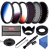 Beschoi 52mm Filter Set (CPL + ND4 + ND8) + Verlauf Farbe Filter (Orange + Blau + Grau) + Filtertasche Reinigungsset für Nikon Canon Sony Olympus DSLR Kamera