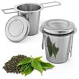 Smart-Planet® Teesieb 2er Set Edelstahl - Teefilter mit Deckel und Griff - Sieb für Tee Kräuter und Gewürze - wiederverwendbar Teebeutel - Teesiebe