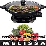 Melissa 16310207, Elektrowok, Elektrischer Wok mit Thermostat, antihaftbeschichtet, 1.500 Watt, 4,5 Liter (Elektropfanne), glass