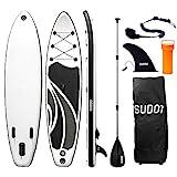 Triclicks SUP Aufblasbares Stand Up Paddle Board Paddling Board Surfboard mit Verstellbares Paddel, Handpumpe mit Druckmesser, Leash, Finner, Rucksack, 300 x 76 x 15cm (Stil 5)