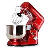 Klarstein Preis/LEISTUNGSSIEGER Bella Rossa Küchenmaschine (1200 W, 5.2 Liter, 6-Stufen, 3 Profi-Rührwerkzeuge) rot
