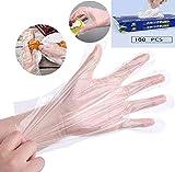 Guizu Transparente Einweghandschuhe für den Haushalt,Einweghandschuhe 100 Stück 1 Box, Einmalhandschuhe M, Mittel ,Vinyl Handschuhe(1 x 100 Stück) (1 * 100)