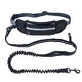 Alihoo Joggingleine Joggingleine mit Taillengürtel inkl. Tasche für kleine und mittelgroße Hunde zum Laufen, Laufen, Joggen, dehnbar von 140 bis 160 cm (Schwarz)