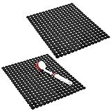 mDesign 2er-Set dekorative Spülbeckenmatte zum Schutz der Küchenspüle vor Kratzern – extragroße Abtropfmatte aus PVC – rutschfeste Spülmatte im Punktedesign zum Zuschneiden – schwarz