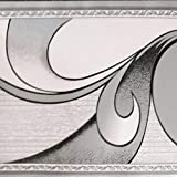 Dundee Deco BD3222 Tapeten-Bordüre, abstrakt, graue Schnörkel, Tapetenbordüre Retro-Design, Rolle 10 m x 10 cm, selbstklebend